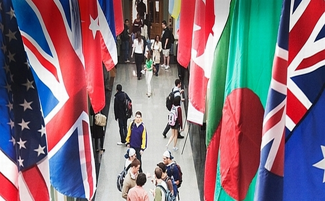 Flags at Simons Hall