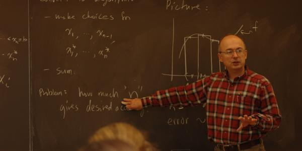 Professor Wickenhauser in a classroom